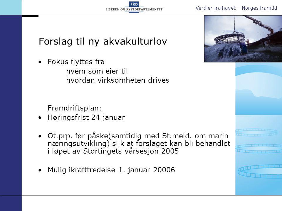 Verdier fra havet – Norges framtid Forslag til ny akvakulturlov Fokus flyttes fra hvem som eier til hvordan virksomheten drives Framdriftsplan: Høringsfrist 24 januar Ot.prp.