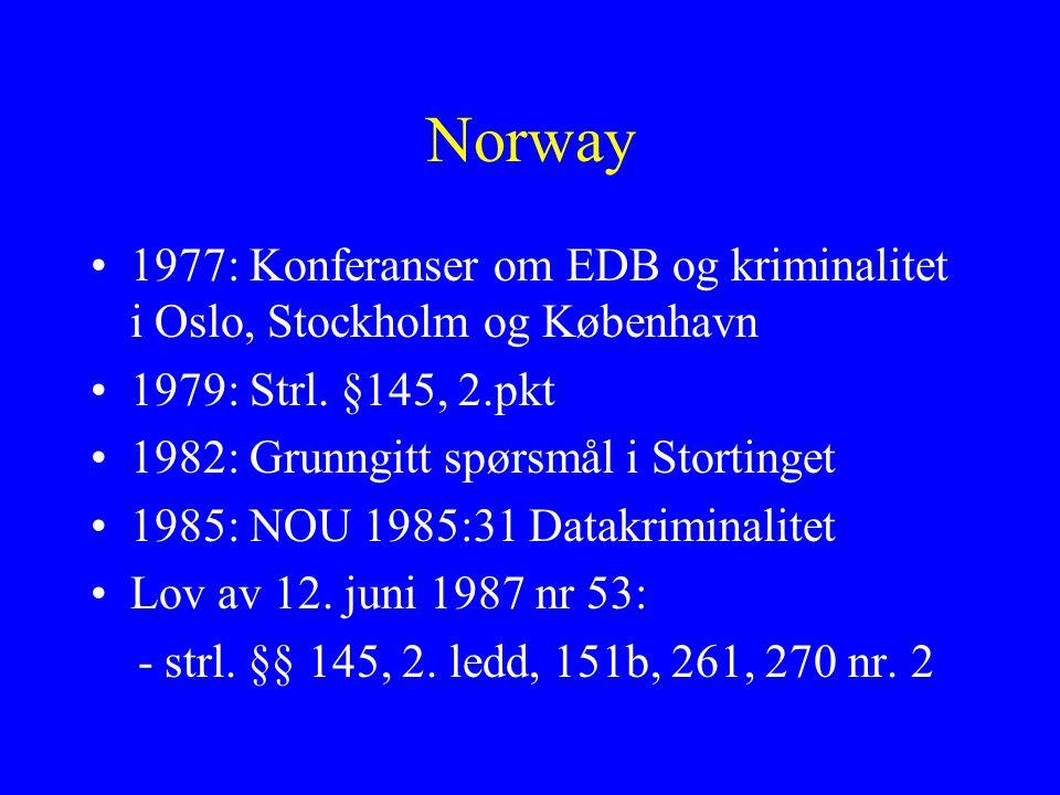 Norway 1977: Konferanser om EDB og kriminalitet i Oslo, Stockholm og København 1979: Strl.