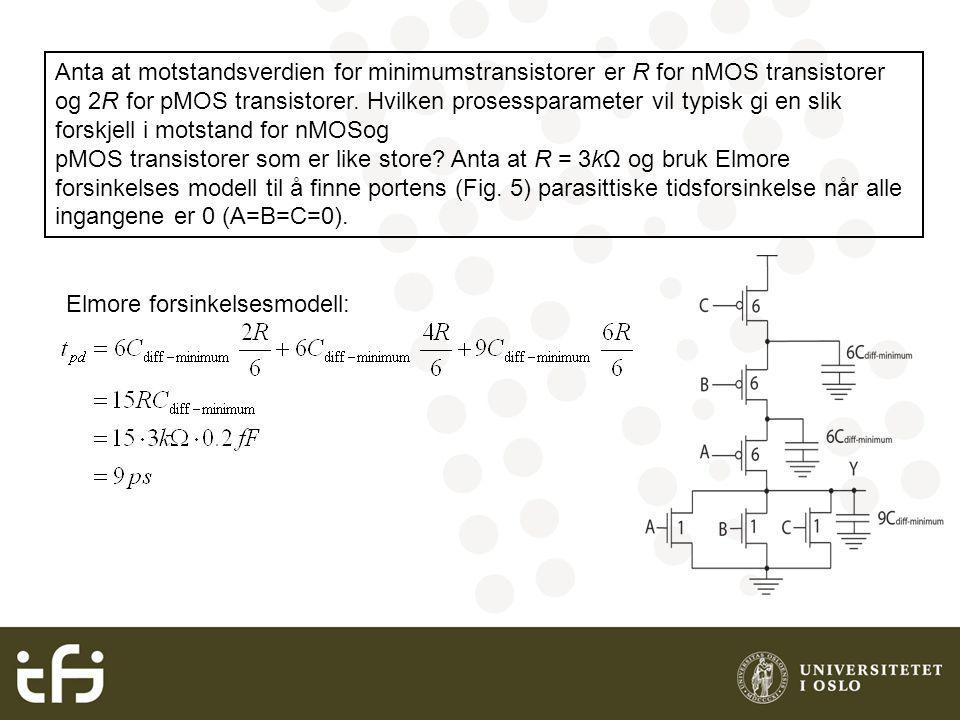 Anta at motstandsverdien for minimumstransistorer er R for nMOS transistorer og 2R for pMOS transistorer.