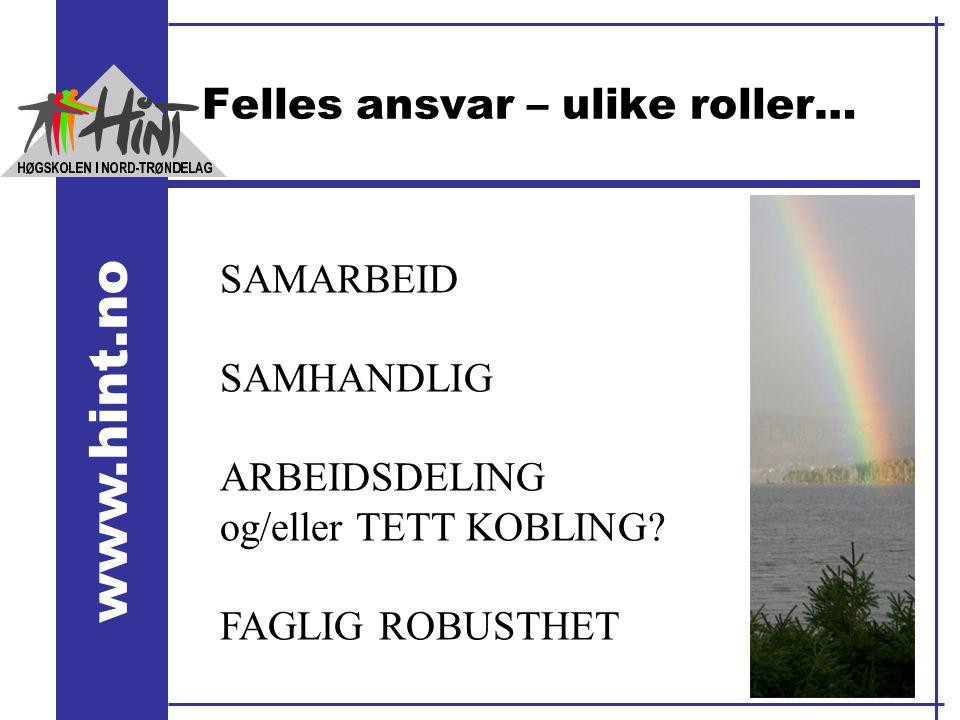 www.hint.no Felles ansvar – ulike roller… SAMARBEID SAMHANDLIG ARBEIDSDELING og/eller TETT KOBLING? FAGLIG ROBUSTHET
