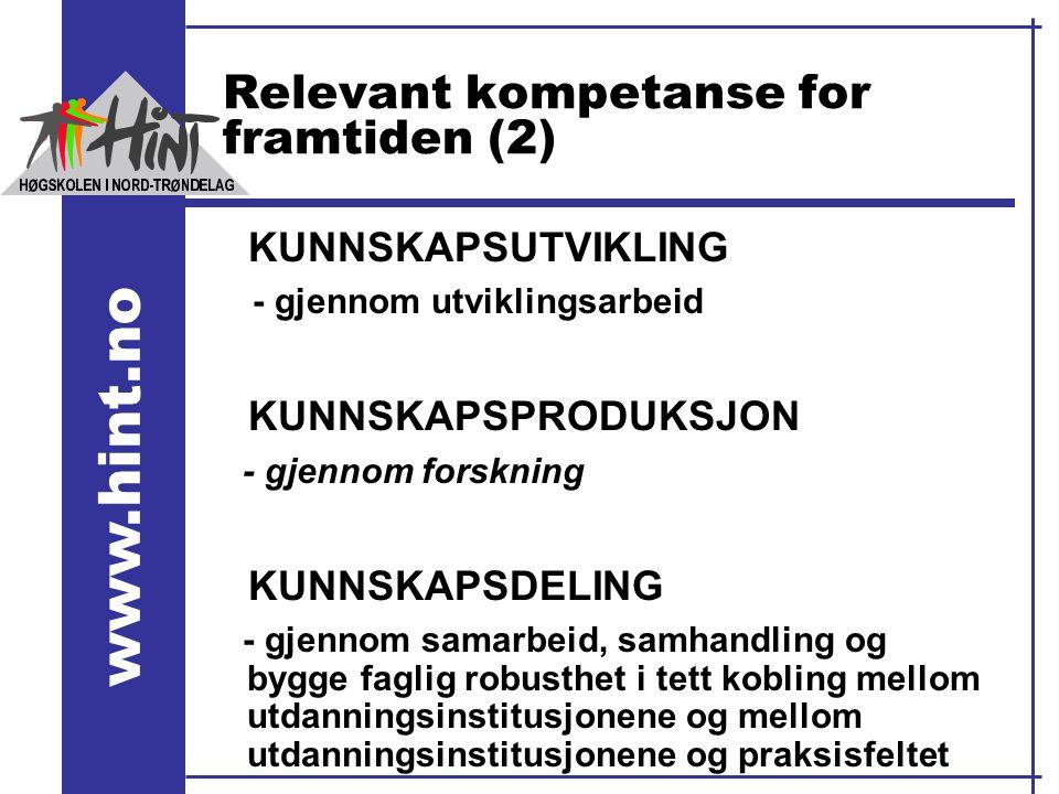 www.hint.no Relevant kompetanse for framtiden (2) KUNNSKAPSUTVIKLING - gjennom utviklingsarbeid KUNNSKAPSPRODUKSJON - gjennom forskning KUNNSKAPSDELIN