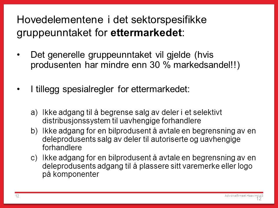 Advokatfirmaet Haavind AS 12 Hovedelementene i det sektorspesifikke gruppeunntaket for ettermarkedet: Det generelle gruppeunntaket vil gjelde (hvis pr