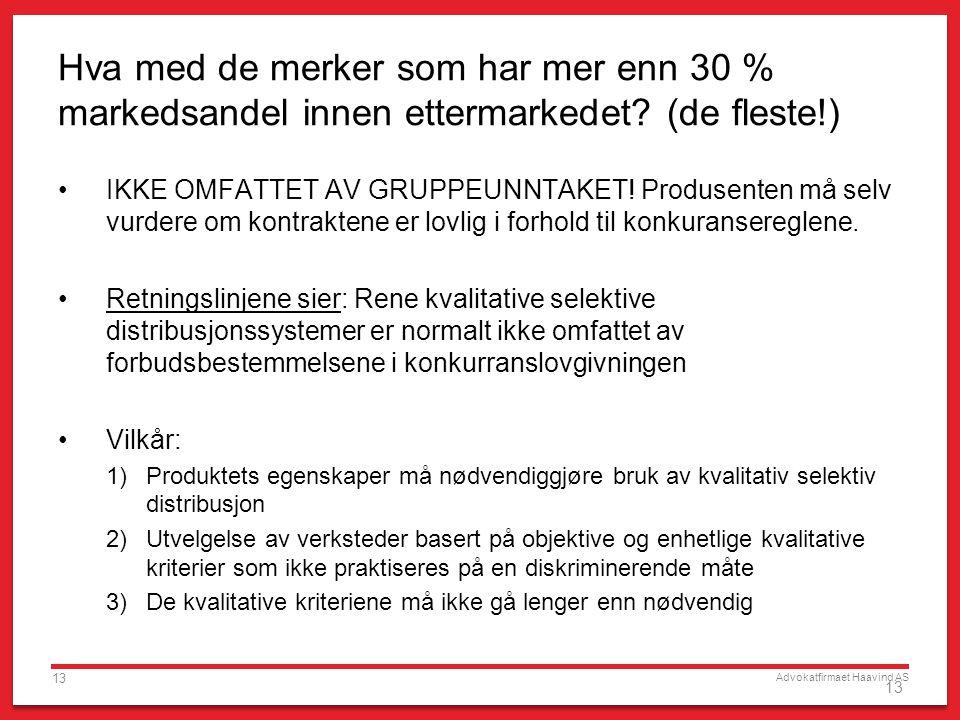 Advokatfirmaet Haavind AS 13 Hva med de merker som har mer enn 30 % markedsandel innen ettermarkedet? (de fleste!) IKKE OMFATTET AV GRUPPEUNNTAKET! Pr