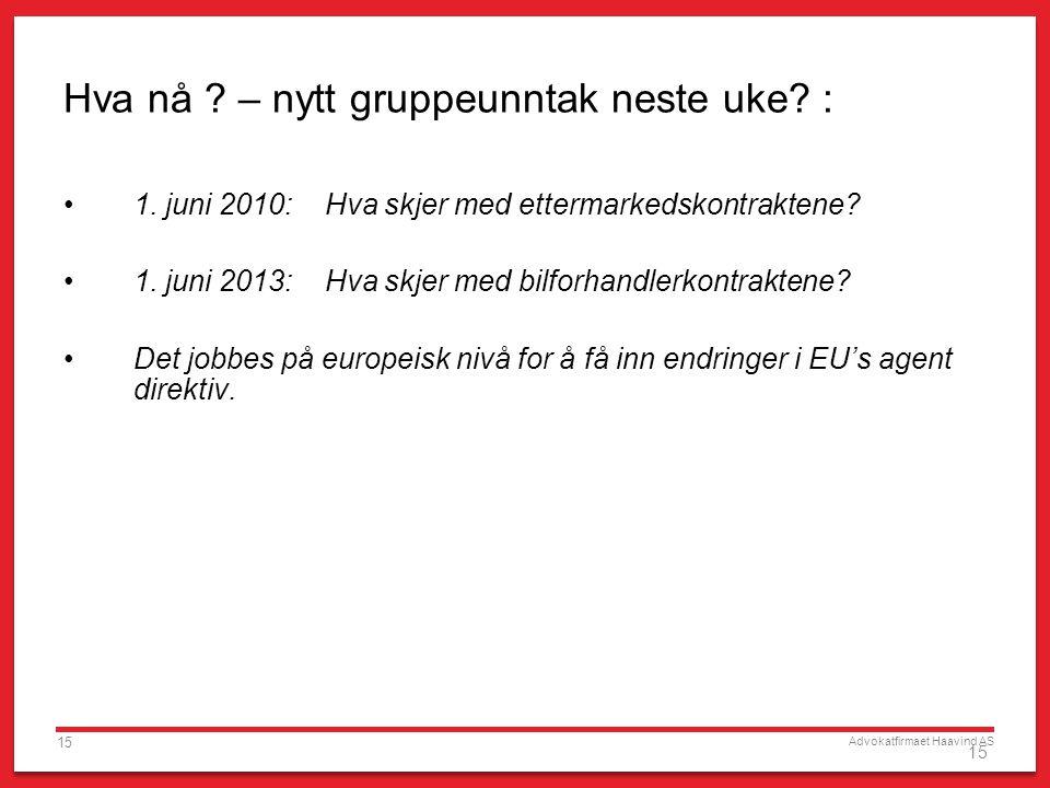 Advokatfirmaet Haavind AS 15 Hva nå ? – nytt gruppeunntak neste uke? : 1. juni 2010: Hva skjer med ettermarkedskontraktene? 1. juni 2013: Hva skjer me