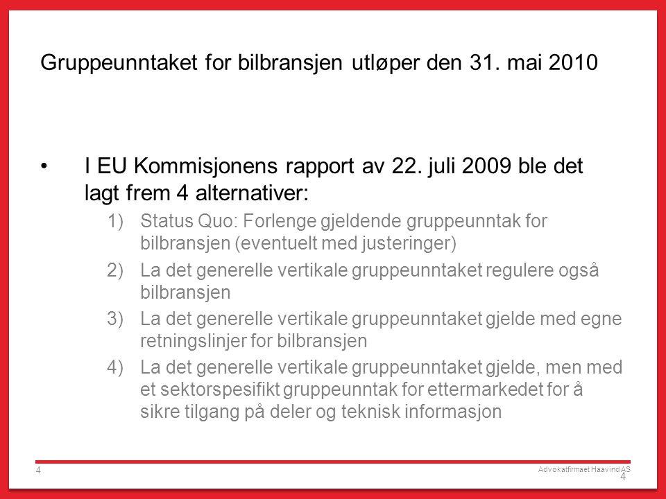 Advokatfirmaet Haavind AS 4 4 Gruppeunntaket for bilbransjen utløper den 31. mai 2010 I EU Kommisjonens rapport av 22. juli 2009 ble det lagt frem 4 a