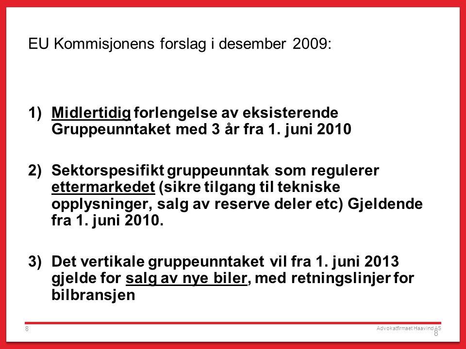 Advokatfirmaet Haavind AS 8 8 EU Kommisjonens forslag i desember 2009: 1)Midlertidig forlengelse av eksisterende Gruppeunntaket med 3 år fra 1. juni 2