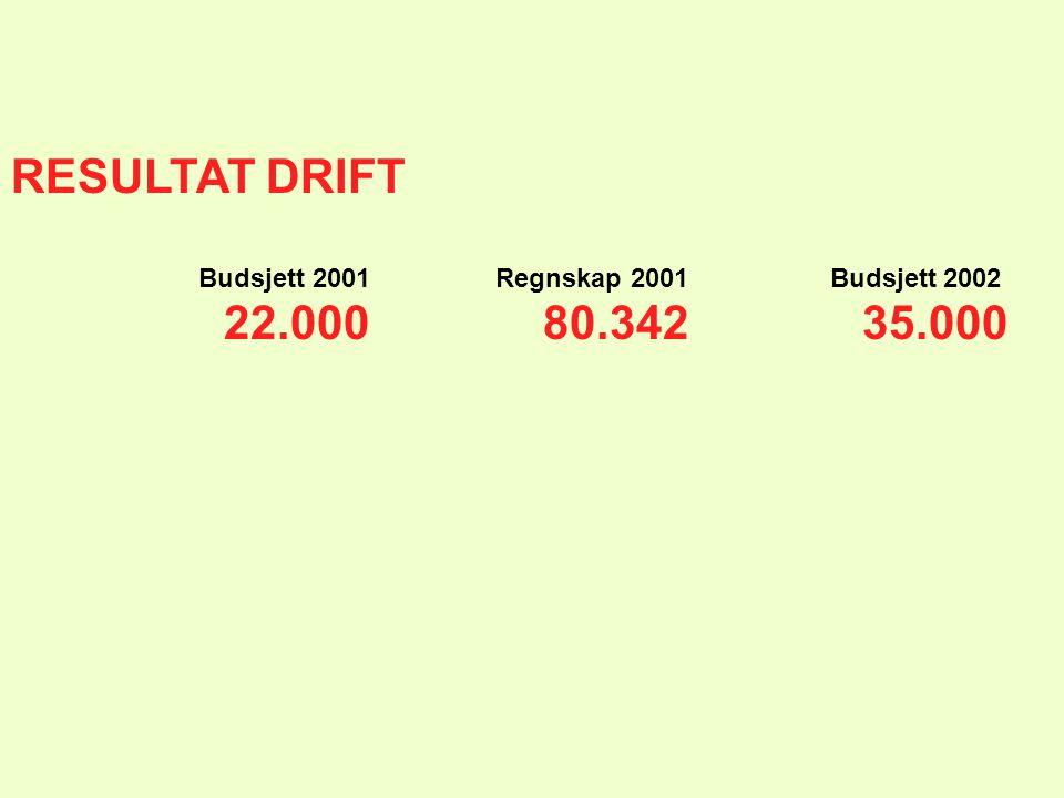 RESULTAT DRIFT Budsjett 2001 Regnskap 2001 Budsjett 2002 22.00080.34235.000