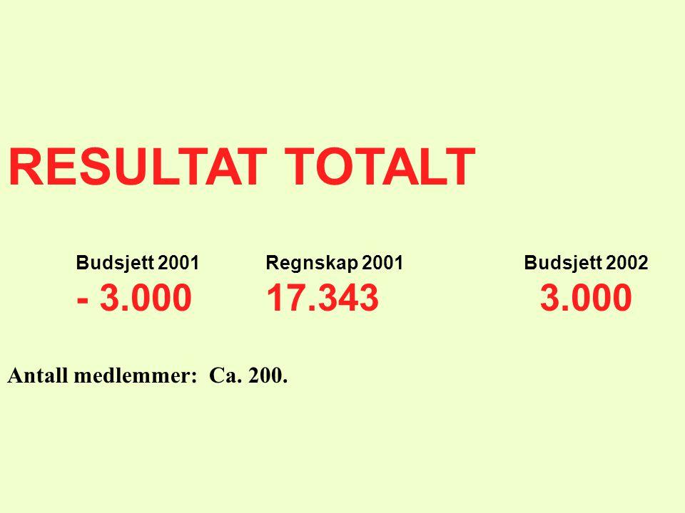 RESULTAT TOTALT Budsjett 2001 Regnskap 2001 Budsjett 2002 - 3.000 17.343 3.000 Antall medlemmer: Ca. 200.