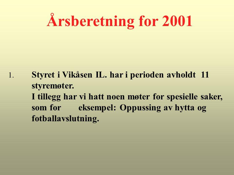 Årsberetning for 2001 1. Styret i Vikåsen IL. har i perioden avholdt 11 styremøter. I tillegg har vi hatt noen møter for spesielle saker, som for ekse