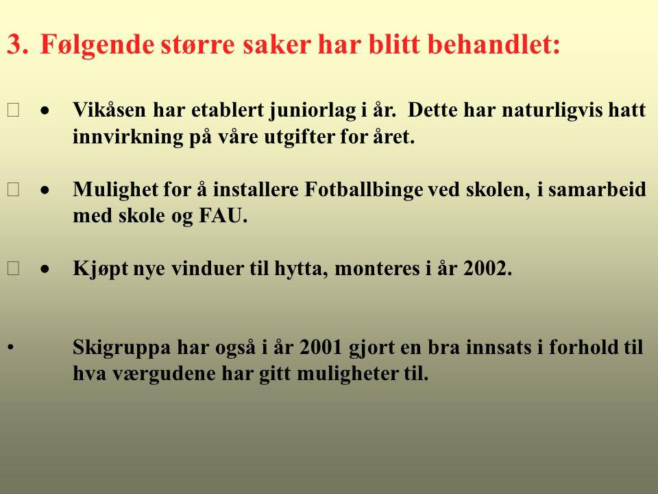 RESULTAT TOTALT Budsjett 2001 Regnskap 2001 Budsjett 2002 - 3.000 17.343 3.000 Antall medlemmer: Ca.