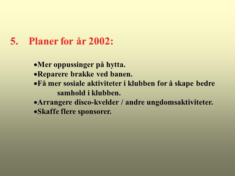 5. Planer for år 2002:  Mer oppussinger på hytta.  Reparere brakke ved banen.  Få mer sosiale aktiviteter i klubben for å skape bedre samhold i klu