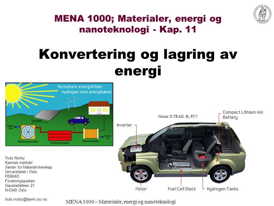 MENA 1000 – Materialer, energi og nanoteknologi Polymer-elektrolytt-brenselcelle 50-85°C Elektrolytt: Nafion® og lignende –Er en H 3 O + -leder + drag av ca 5H 2 O –Vann må sirkuleres Elektroder: Porøs C + Pt Brensel: Rent H 2 Katalysatorforgiftning (CO) Pris (Pt + elektrolytt) Ledende brenselcelleteknologi for transport (biler, busser…)