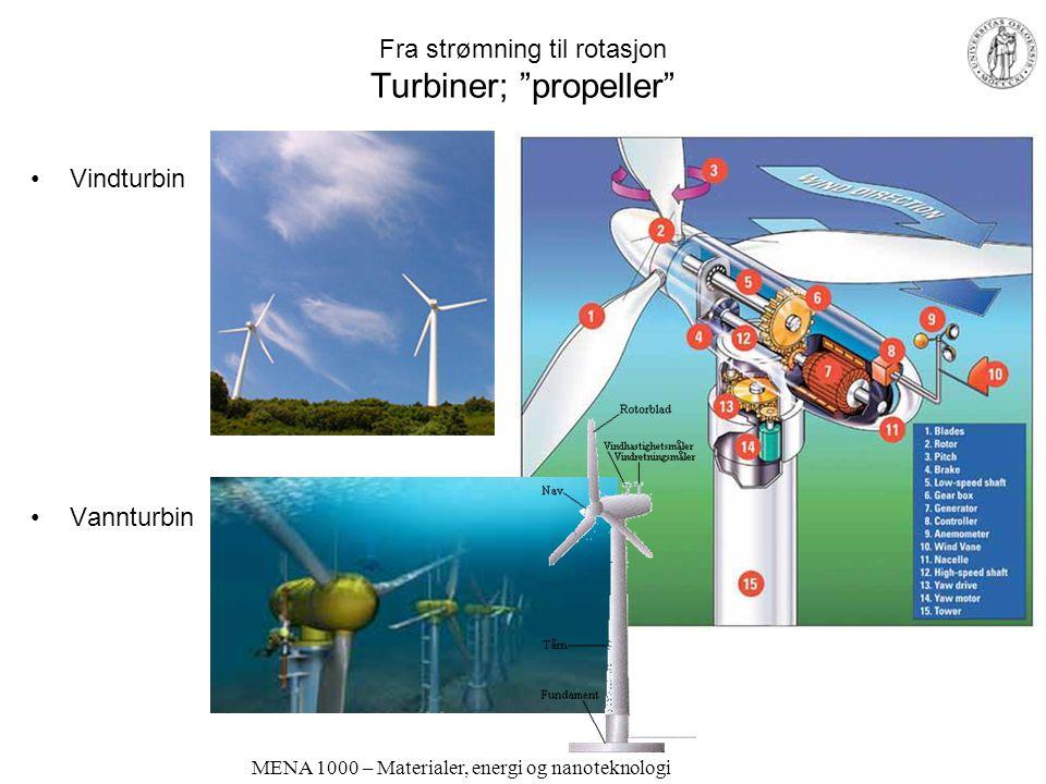 MENA 1000 – Materialer, energi og nanoteknologi Fra strømning til rotasjon Turbiner for vannkraftverk Fristråleturbin Store fallhøyder Fullturbin –Skovler – Propell Liten fallhøyde, stor vannføring