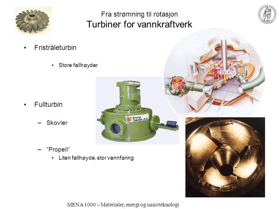 MENA 1000 – Materialer, energi og nanoteknologi Fra mekanisk til elektrisk energi (og omvendt) Generatorer og elektromotorer Generator –Spole beveges i forhold til permanentmagneter: Strøm genereres Sykkeldynamo Bildynamo Generator i kraftverk –AC Elektromotor –Strøm sendes gjennom spole som kan beveges i forhold til permenentmagneter: Bevegelse genereres –AC, DC Transportmidler Elbil-motor Starter Pumper, osv…