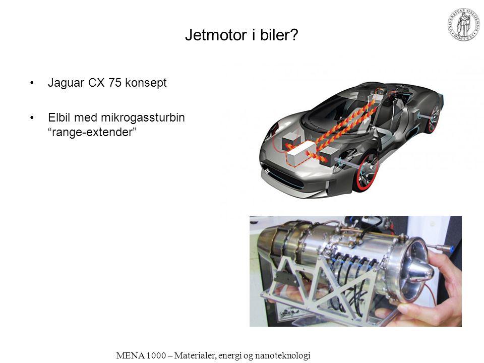 MENA 1000 – Materialer, energi og nanoteknologi Elektriske biler Drives av elektromotorer Oppladbart batteri –Kan ha superkondensatorer som akselerasjonshjelp –Plug-in lading –eller forskjellige typer range extenders Motordrift Motor + generator Brenselcelle (mange typer hybrider) Brenselcelle Motorer kan gå på mange typer brensel; bensin/diesel, gass, biodrivstoff, hydrogen.