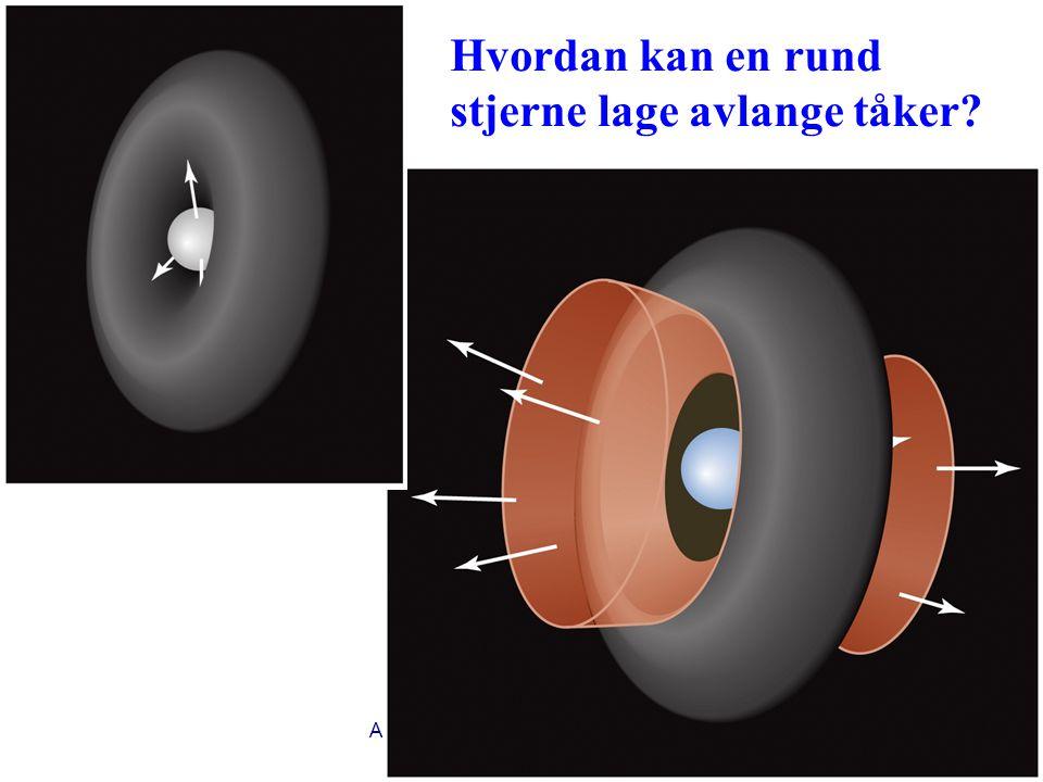 AST1010 - Stjernenes sluttstadier21 Hvordan kan en rund stjerne lage avlange tåker?