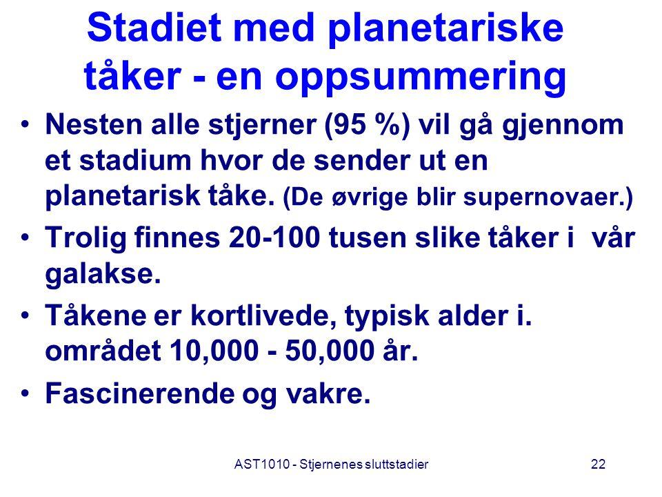 AST1010 - Stjernenes sluttstadier22 Stadiet med planetariske tåker - en oppsummering Nesten alle stjerner (95 %) vil gå gjennom et stadium hvor de sen
