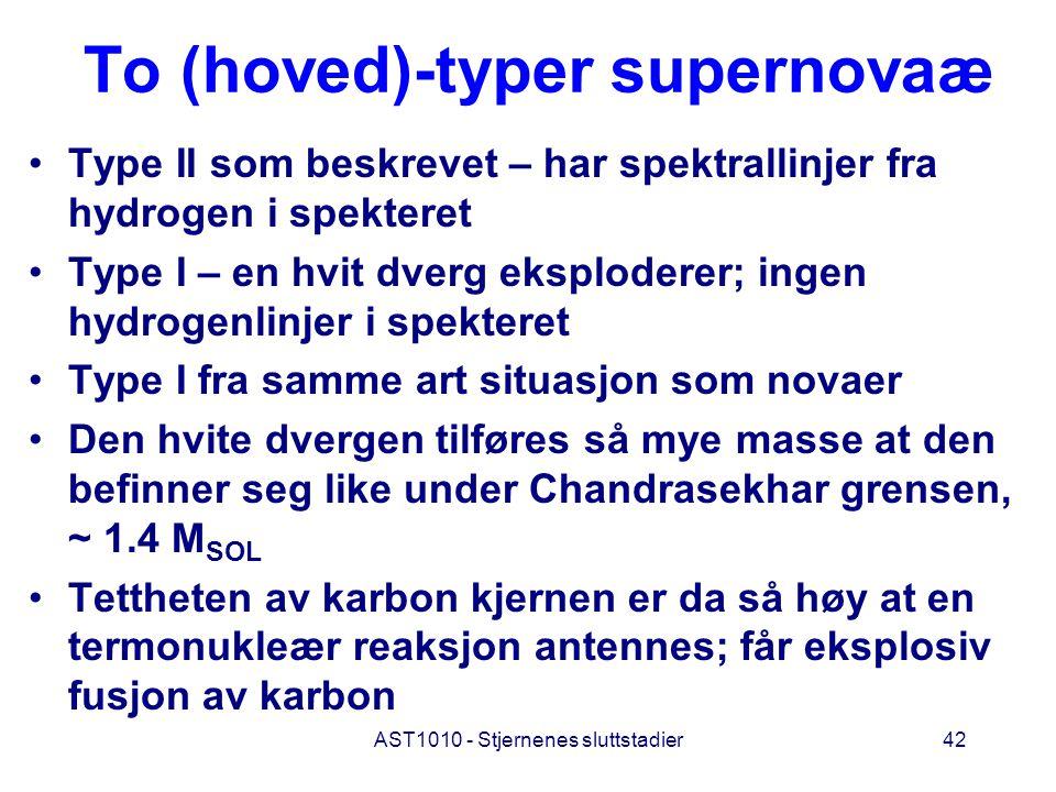 AST1010 - Stjernenes sluttstadier42 To (hoved)-typer supernovaæ Type II som beskrevet – har spektrallinjer fra hydrogen i spekteret Type I – en hvit d