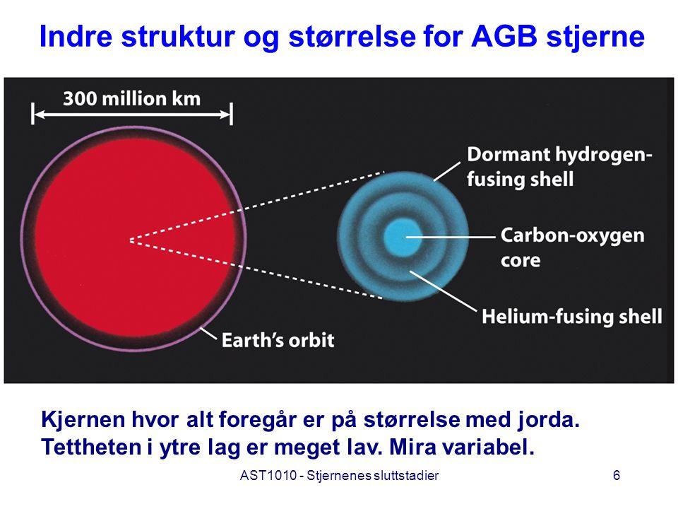 AST1010 - Stjernenes sluttstadier6 Indre struktur og størrelse for AGB stjerne Kjernen hvor alt foregår er på størrelse med jorda. Tettheten i ytre la