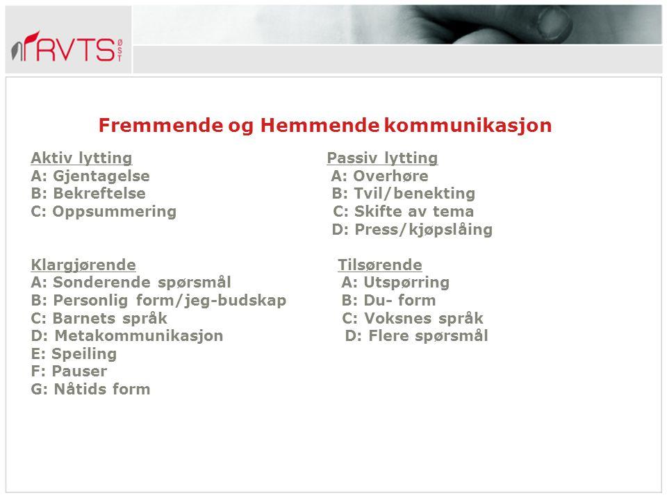 Fremmende og Hemmende kommunikasjon Aktiv lytting Passiv lytting A: Gjentagelse A: Overhøre B: Bekreftelse B: Tvil/benekting C: Oppsummering C: Skifte