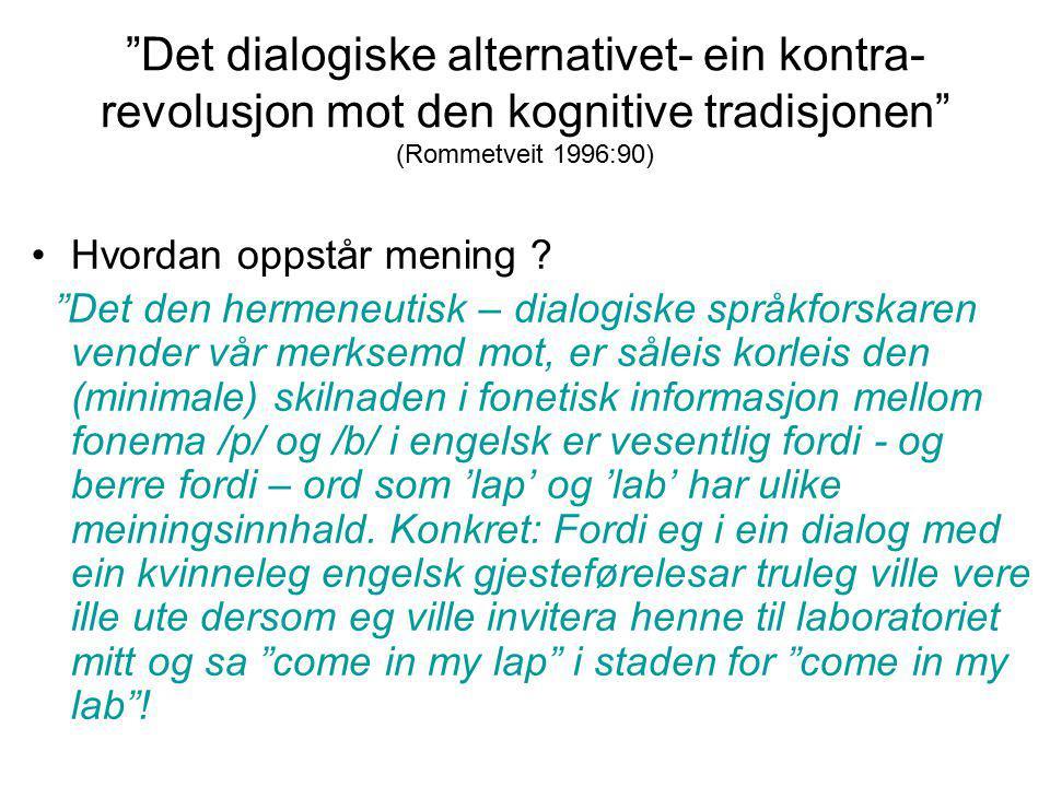 """""""Det dialogiske alternativet- ein kontra- revolusjon mot den kognitive tradisjonen"""" (Rommetveit 1996:90) Hvordan oppstår mening ? """"Det den hermeneutis"""