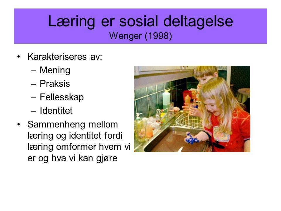 Læring er sosial deltagelse Wenger (1998) Karakteriseres av: –Mening –Praksis –Fellesskap –Identitet Sammenheng mellom læring og identitet fordi lærin