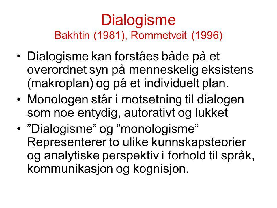 Dialogisme Bakhtin (1981), Rommetveit (1996) Dialogisme kan forståes både på et overordnet syn på menneskelig eksistens (makroplan) og på et individue