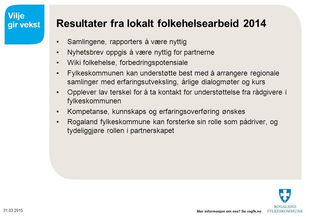 31.03.2015 Oppsummering av rapportering fra lokalt folkehelsearbeid 2014 Tiltak som ikke er blitt gjennomført begrunnes med kapasitets utfordringer, økonomi og prioriteringer.