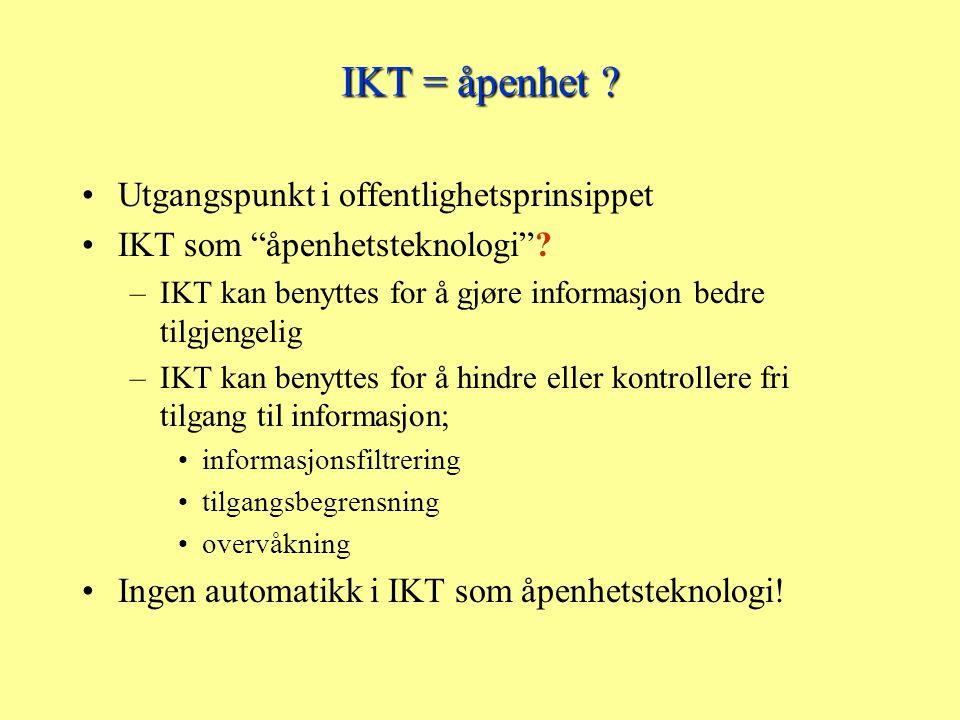 IKT og påvirkning av åpenhet på tre nivåer IKT kan utfordre tradisjonelle begreper – dokument – journal og lignende registre IKT kan effektivisere eksisterende innsynsordninger –Beslutningsstøtte i innsynssaker –Elektronisk kopi –Elektronisk forsendelse IKT kan gi nye former for åpenhet
