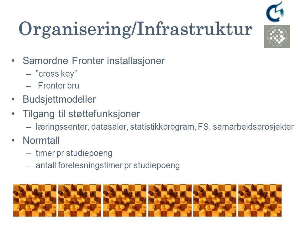 """Organisering/Infrastruktur Samordne Fronter installasjoner –""""cross key"""" – Fronter bru Budsjettmodeller Tilgang til støttefunksjoner –læringssenter, da"""