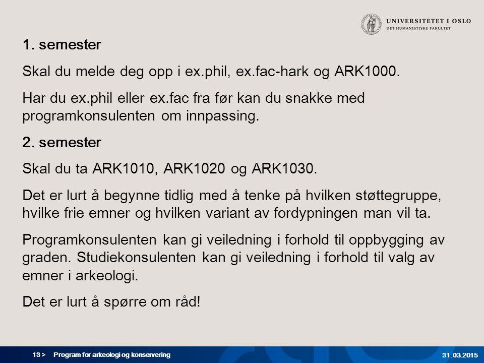13 > Program for arkeologi og konservering 31.03.2015 1.