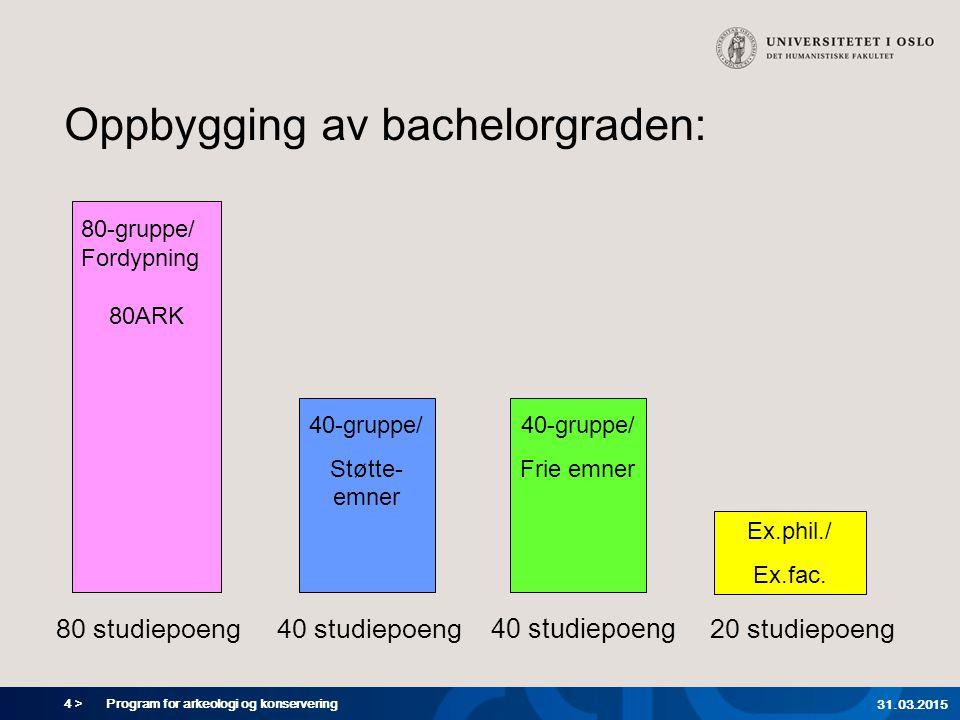 35 > Program for arkeologi og konservering 31.03.2015 Hva skjer framover.