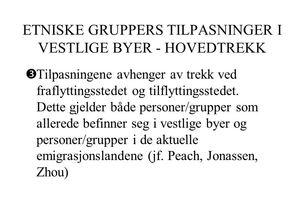 ETNISKE GRUPPERS TILPASNINGER I VESTLIGE BYER - HOVEDTREKK  Tilpasningene avhenger av trekk ved fraflyttingsstedet og tilflyttingsstedet.