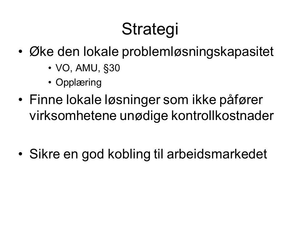 Strategi Øke den lokale problemløsningskapasitet VO, AMU, §30 Opplæring Finne lokale løsninger som ikke påfører virksomhetene unødige kontrollkostnader Sikre en god kobling til arbeidsmarkedet