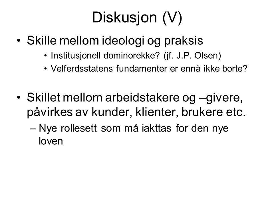 Diskusjon (V) Skille mellom ideologi og praksis Institusjonell dominorekke.