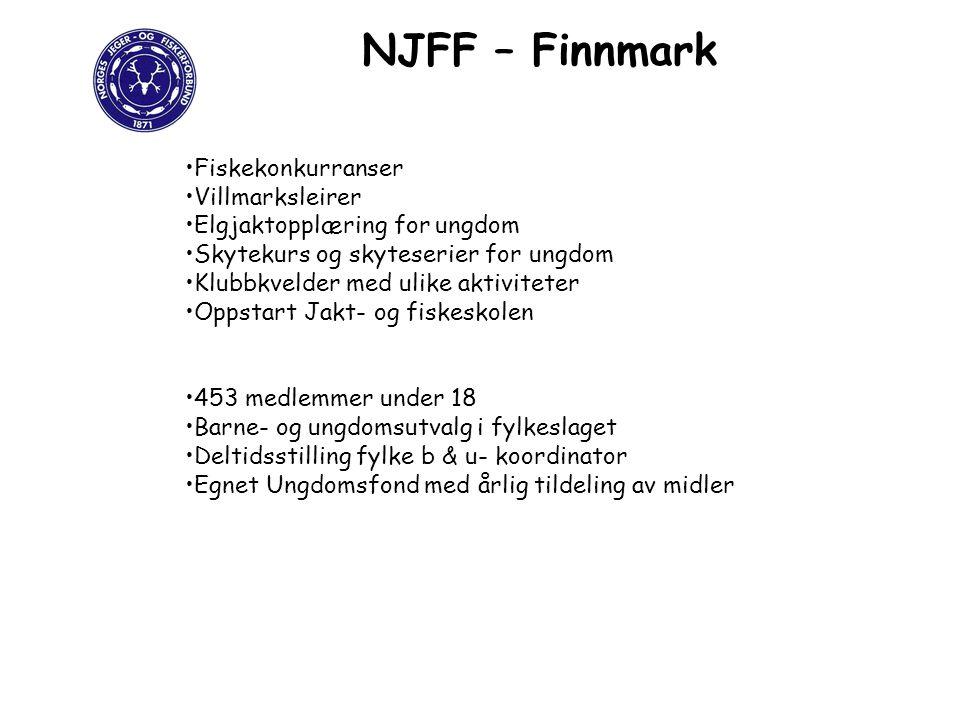 NJFF – Finnmark Fiskekonkurranser Villmarksleirer Elgjaktopplæring for ungdom Skytekurs og skyteserier for ungdom Klubbkvelder med ulike aktiviteter O