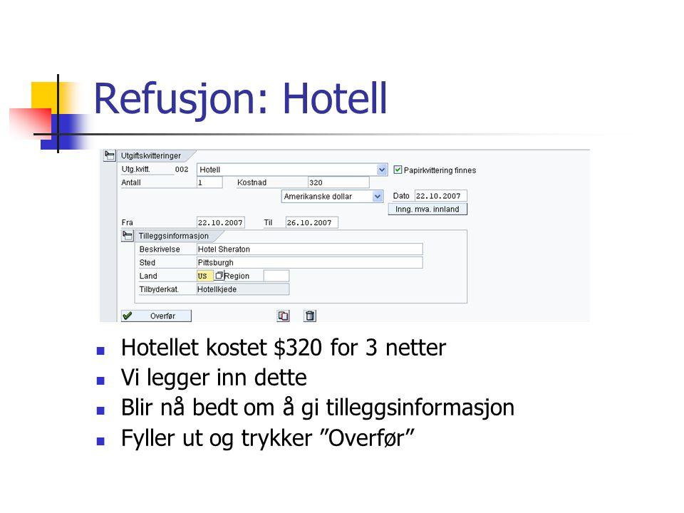 Refusjon: Hotell Hotellet kostet $320 for 3 netter Vi legger inn dette Blir nå bedt om å gi tilleggsinformasjon Fyller ut og trykker Overfør