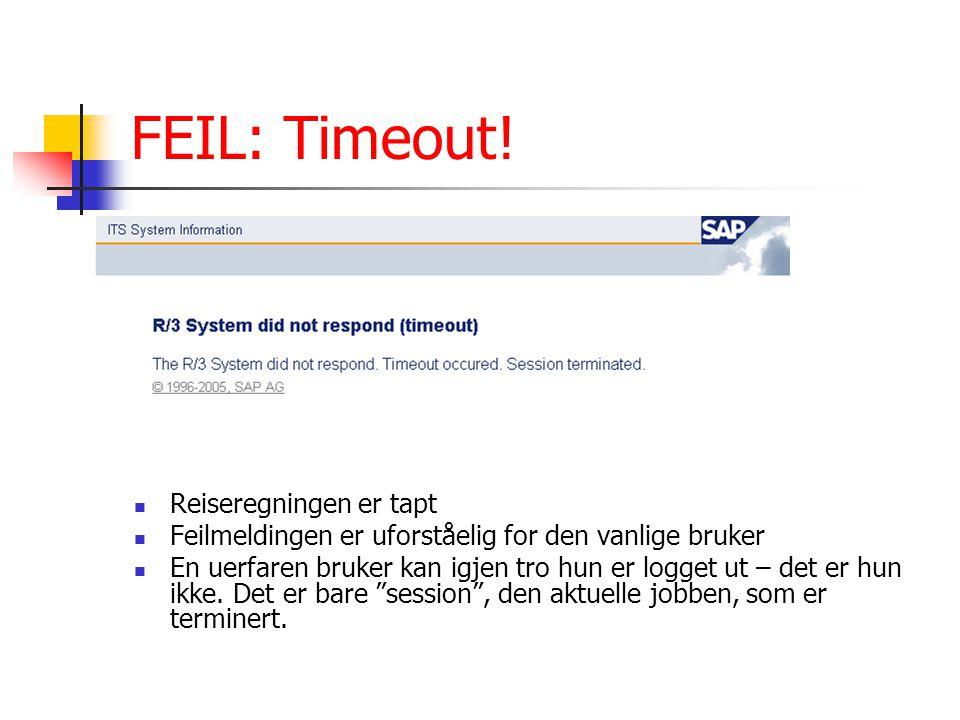 FEIL: Timeout! Reiseregningen er tapt Feilmeldingen er uforståelig for den vanlige bruker En uerfaren bruker kan igjen tro hun er logget ut – det er h
