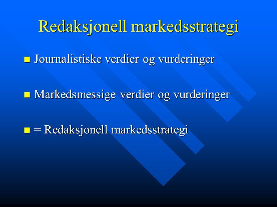 Redaksjonell markedsstrategi Journalistiske verdier og vurderinger Journalistiske verdier og vurderinger Markedsmessige verdier og vurderinger Markedsmessige verdier og vurderinger = Redaksjonell markedsstrategi = Redaksjonell markedsstrategi