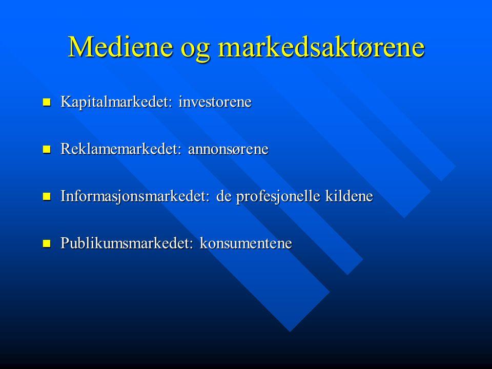 Mediene og markedsaktørene Kapitalmarkedet: investorene Kapitalmarkedet: investorene Reklamemarkedet: annonsørene Reklamemarkedet: annonsørene Informasjonsmarkedet: de profesjonelle kildene Informasjonsmarkedet: de profesjonelle kildene Publikumsmarkedet: konsumentene Publikumsmarkedet: konsumentene