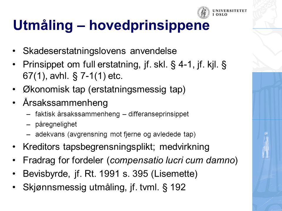 Utmåling – hovedprinsippene Skadeserstatningslovens anvendelse Prinsippet om full erstatning, jf. skl. § 4-1, jf. kjl. § 67(1), avhl. § 7-1(1) etc. Øk