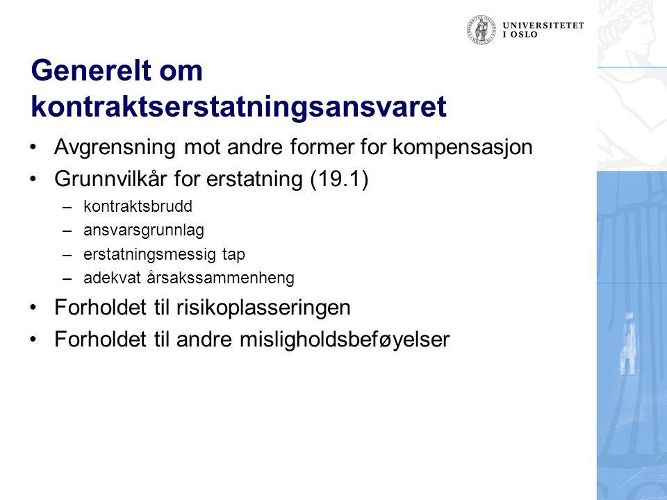 Generelt om kontraktserstatningsansvaret Avgrensning mot andre former for kompensasjon Grunnvilkår for erstatning (19.1) –kontraktsbrudd –ansvarsgrunn