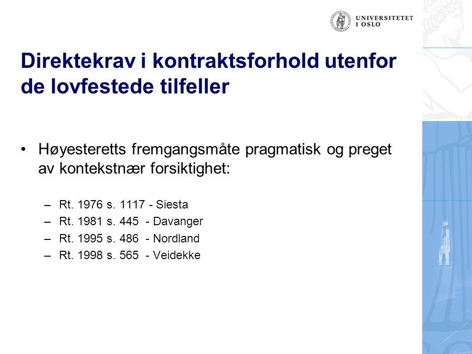 Direktekrav i kontraktsforhold utenfor de lovfestede tilfeller Høyesteretts fremgangsmåte pragmatisk og preget av kontekstnær forsiktighet: –Rt. 1976