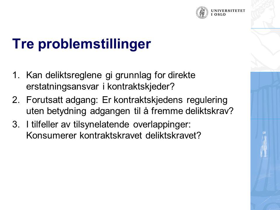 Tre problemstillinger 1.Kan deliktsreglene gi grunnlag for direkte erstatningsansvar i kontraktskjeder? 2.Forutsatt adgang: Er kontraktskjedens regule