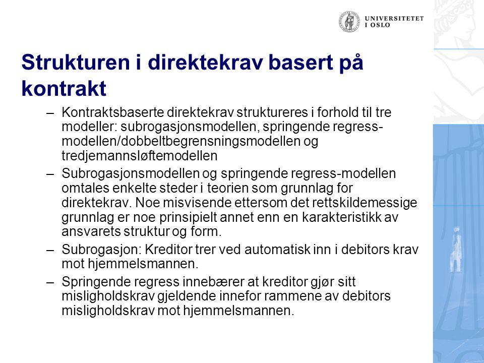 Strukturen i direktekrav basert på kontrakt –Kontraktsbaserte direktekrav struktureres i forhold til tre modeller: subrogasjonsmodellen, springende re