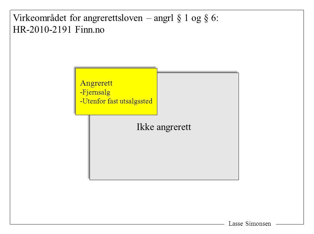 Lasse Simonsen Virkeområdet for angrerettsloven – angrl § 1 og § 6: HR-2010-2191 Finn.no Ikke angrerett Angrerett -Fjernsalg -Utenfor fast utsalgssted