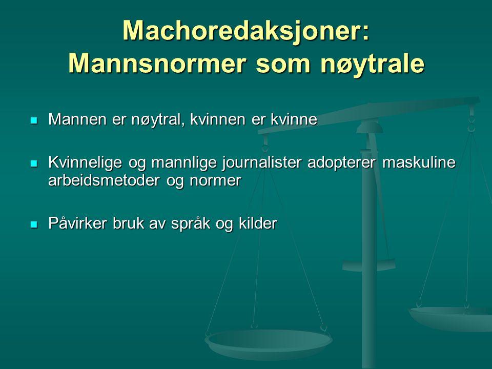 Machoredaksjoner: Mannsnormer som nøytrale Mannen er nøytral, kvinnen er kvinne Mannen er nøytral, kvinnen er kvinne Kvinnelige og mannlige journalist