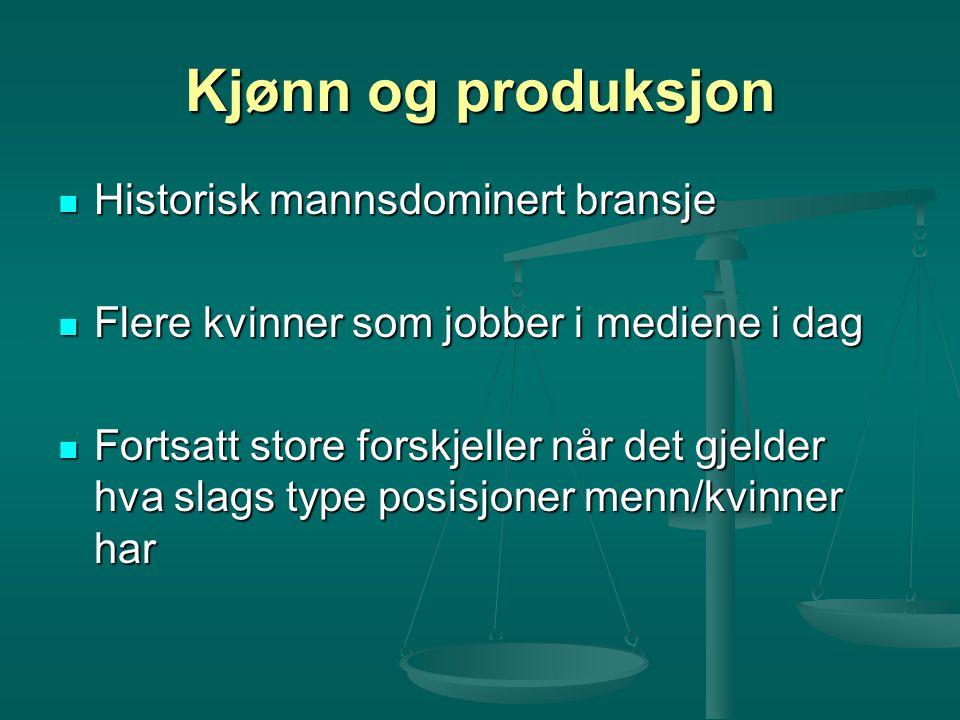 Kjønn og produksjon Historisk mannsdominert bransje Historisk mannsdominert bransje Flere kvinner som jobber i mediene i dag Flere kvinner som jobber