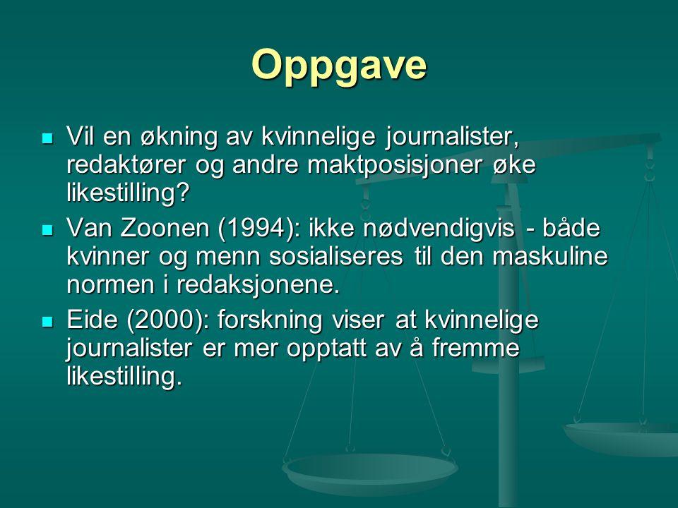 Oppgave Vil en økning av kvinnelige journalister, redaktører og andre maktposisjoner øke likestilling.