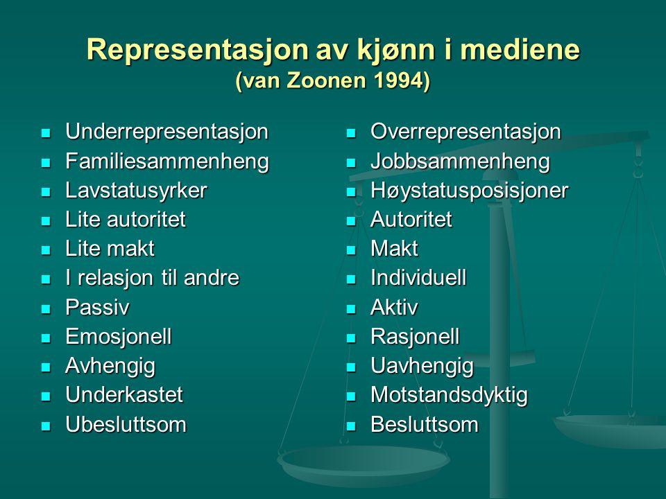 Representasjon av kjønn i mediene (van Zoonen 1994) Underrepresentasjon Underrepresentasjon Familiesammenheng Familiesammenheng Lavstatusyrker Lavstat